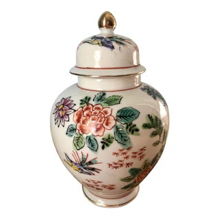 Hand Painted Floral With Birds of Paradise Ginger Jar