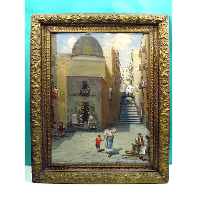 1900s Italian Street Scene Painting, Circa 1900 For Sale - Image 5 of 5