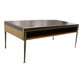 Mid-Century Leather Top Cocktail Table With Open Shelf For Sale