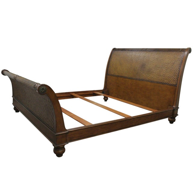 low priced 80f46 fba80 Bassett Boho Wicker Chic Rattan King Size Sleigh Bed Frame