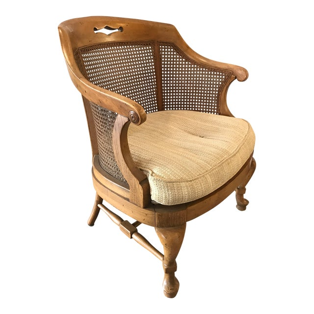 Mid-Century Modern French Barrel Back Caned Armchair For Sale