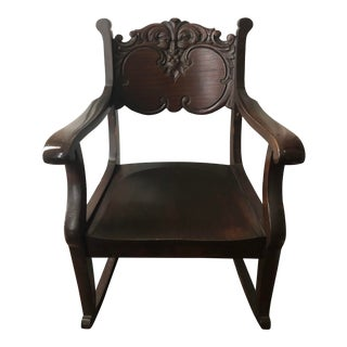Carved Mahogany Rocking Chair For Sale
