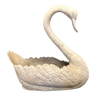Early 20th Century Aluminum Garden Swan Planter For Sale