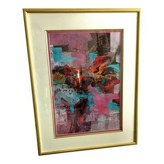 Vintage Signed Original B. Woodward Abstract Artwork, Framed For Sale