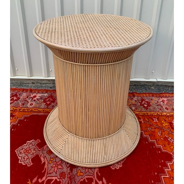 Hollywood Regency Split Reed Bamboo Rattan Dining Table Base in Crespi Style For Sale - Image 3 of 12
