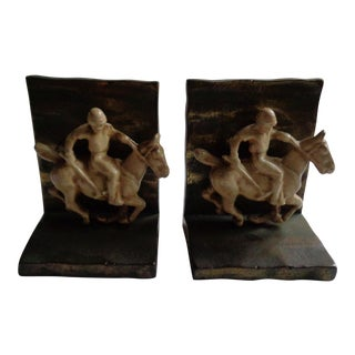 Vintage 1930s Equestrian Polo Horse Metal Bookends - a Pair
