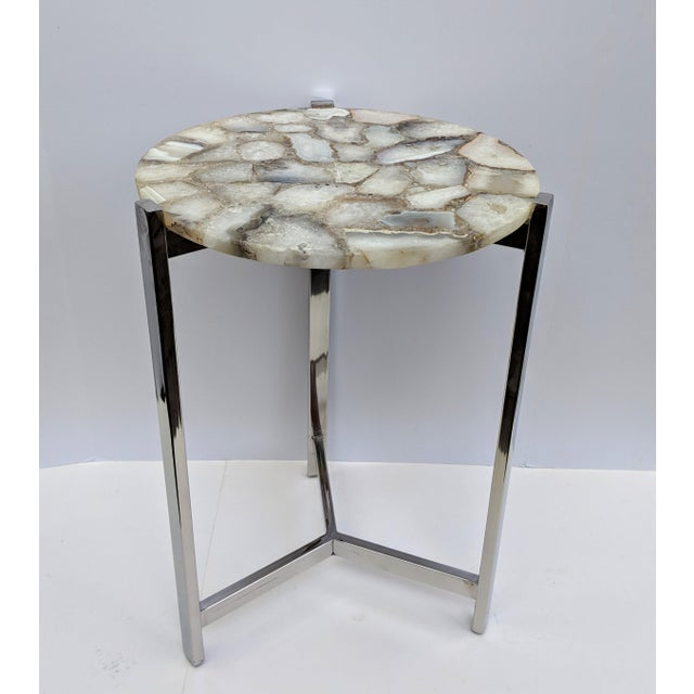Jonathan Adler Inspired Organic White Agate Accent Table With Chrome Legs For Sale - Image 10 of 13