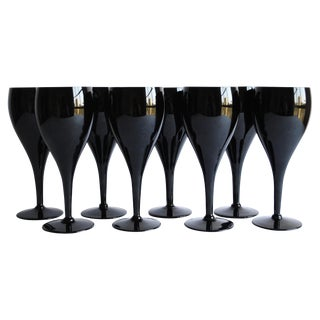Vintage Black Wine Glasses, Set of 8