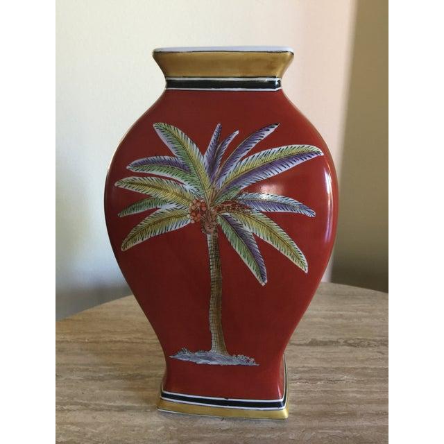Traditional Raymond Waites Red Ceramic Palm Tree Vase Chairish