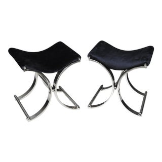 Karl Springer Style Chrome 'X' Benches - A Pair For Sale