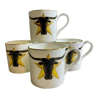 1986 Vintage Longhorn Steer & Star Boehm Mugs - Set of 4 For Sale