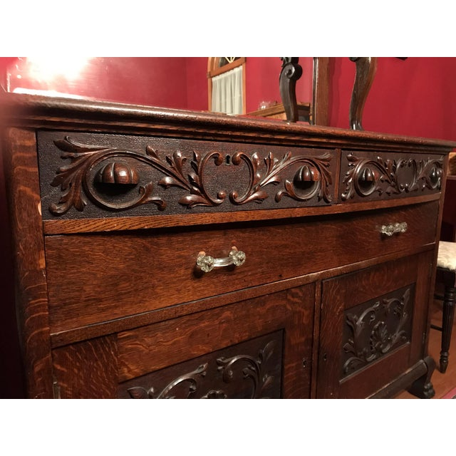 Antique Tiger Oak Buffet With Mirror - Image 8 of 11