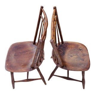 Early 19th Century Antique Sheraton Back Double Railed Windsor Chairs - a Pair
