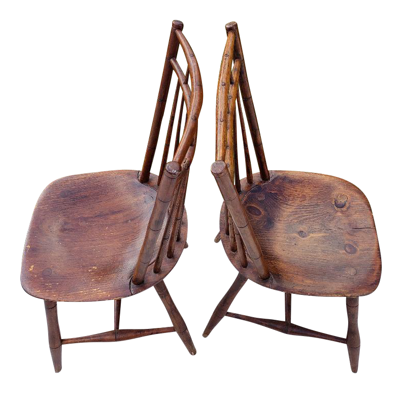 Early 19th Century Antique Sheraton Back Double Railed Windsor Chairs   A  Pair