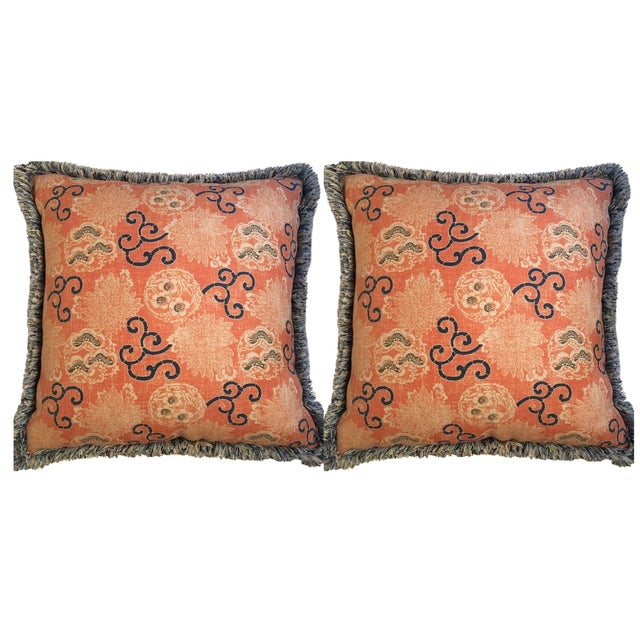 Quadrille Pillows with Samuel & Sons Trim - Pair - Image 1 of 8
