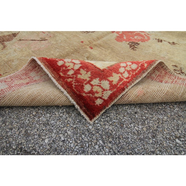 Vintage Tribal Antique Turkish Oushak Hand Knotted Rug - 4'5 X 7'8 For Sale In Houston - Image 6 of 6