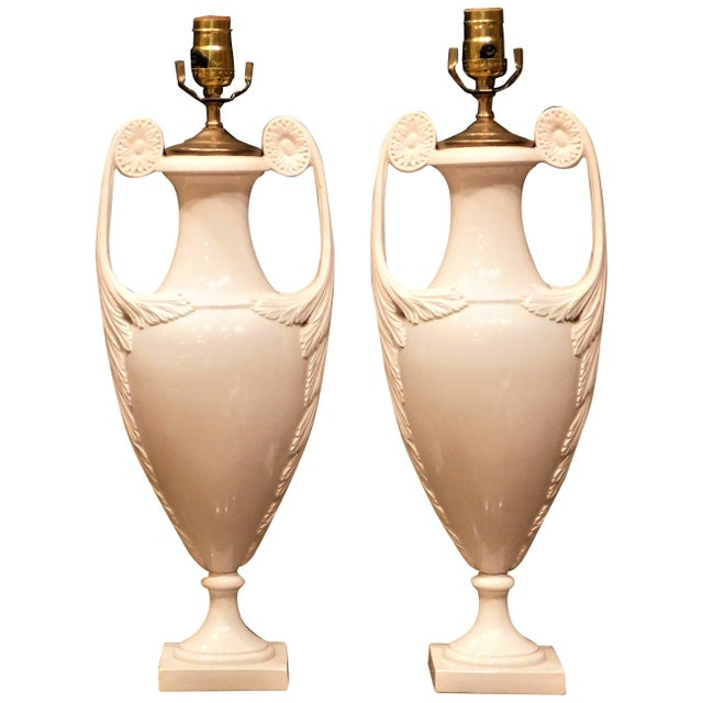 1930s Continental White Faience Urn Table Lamps-a Pair For Sale - Image 11 of 11