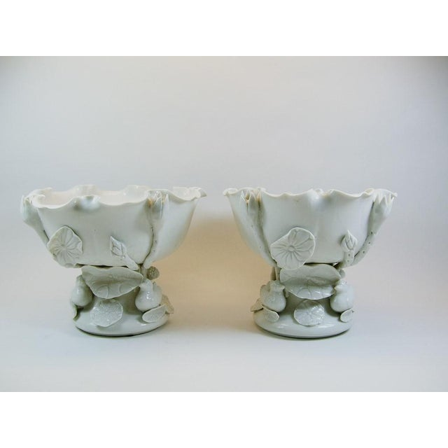 Vintage Chinese Blanc De Chine Porcelain 'Lotus' Offering Bowls- A Pair - Image 2 of 9