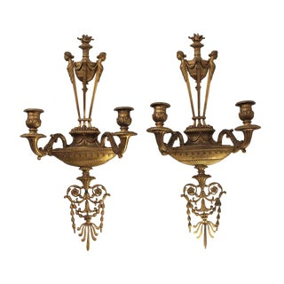 Caldwell Signed Ornate Brass Figural Sconces - a Pair For Sale