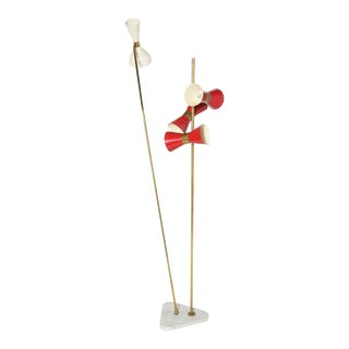 Arteluce Style Italian Modern Floor Lamp With Enameled Shades For Sale
