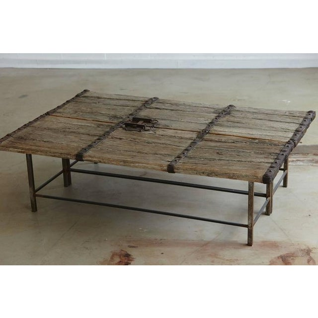 Low Antique Chinese Gate Doors Coffee Table on Custom-Made Welded Metal Base For Sale - Image 4 of 10
