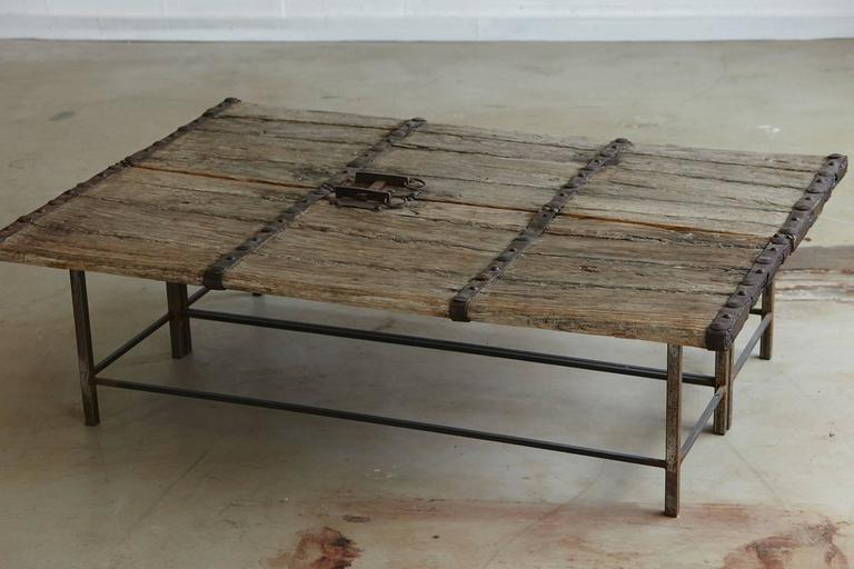 Low Antique Chinese Gate Doors Coffee Table On Custom Made Welded Metal Base    Image