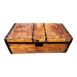 19th Century American Classical Wood and Iron Travel Trunk For Sale