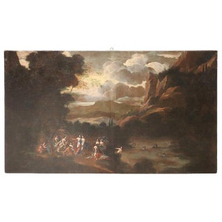 17th Century Italian Oil Painting on Canvas, Landscape With Figures For Sale