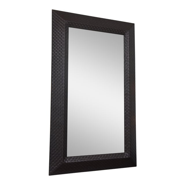 Italian Modern Woven Leather Mirror For Sale