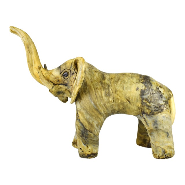 Vintage Handmade Crushed Oyster Shell Elephant Figurine For Sale