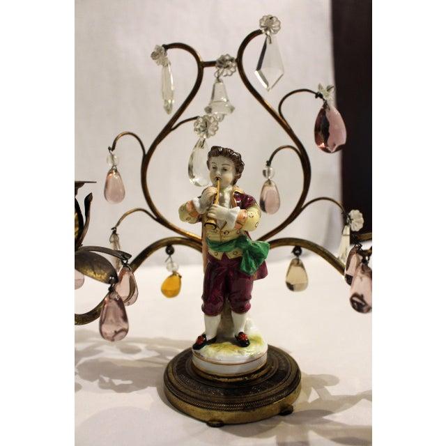 Gilt Bronze Porcelain Figurine Candelabras - a Pair For Sale - Image 4 of 11