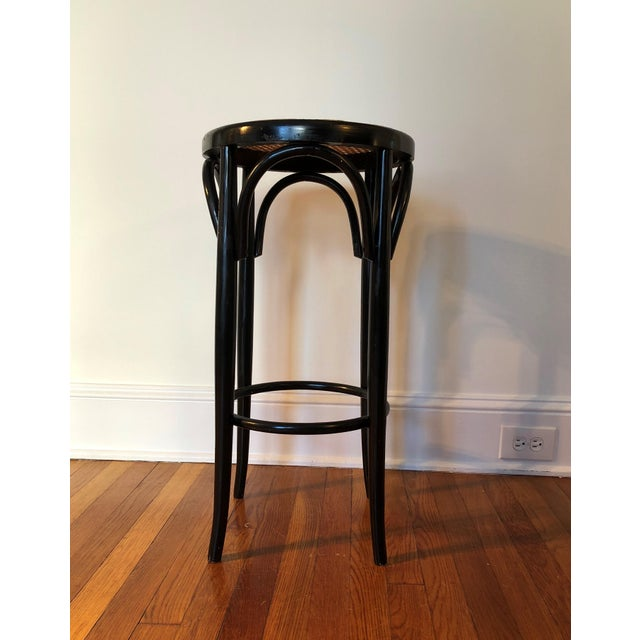 Wood Talian Antique Bentwood and Cane Cafe Stool For Sale - Image 7 of 10