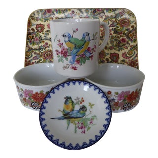 Vintage Japanese Floral Tray, Bowls & Mug - Set of 5 For Sale