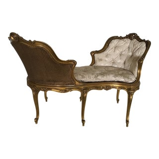 Early 20th Century Antique French Caned Tufted Tete' Te Settee For Sale