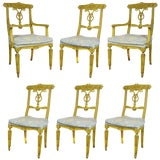 Image of 1950s Vintage French Regency Louis XVI Style Carved Dining Room Chairs - Set of 6 For Sale