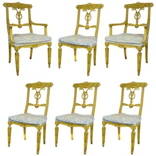 1950s Vintage French Regency Louis XVI Style Carved Dining Room Chairs - Set of 6 For Sale