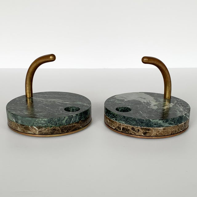 Pair of Italian Modernist Marble and Bronze Candle Holders For Sale - Image 4 of 10