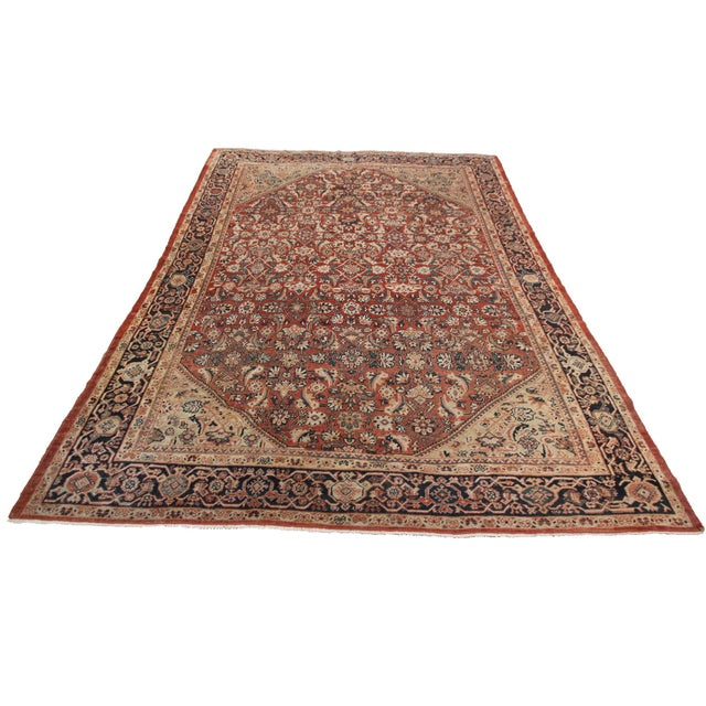 Abstract Early 20th Century Antique Persian Mahal Rug-8′9″ × 10′5″ For Sale - Image 3 of 11