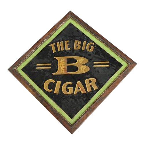 "Early 20th Century American ""The Big B Cigar"" Reverse Painted Glass Sign For Sale"