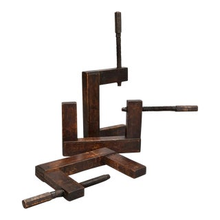 English Late 19th Century Large Wooden C-Clamp
