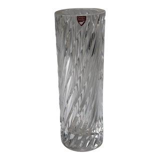 Vintage Jan Johansson Orrefors Spiral Crystal Glass Vase For Sale