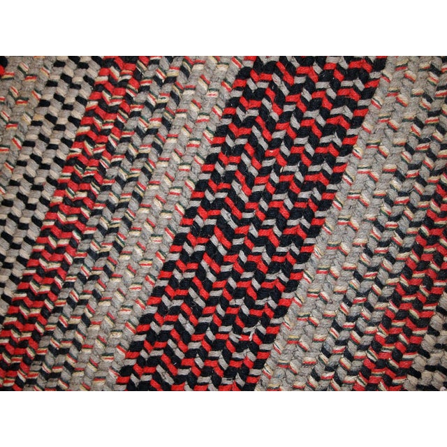 1930s Antique American Handmade Braided Oval Rug - 2′2″ × 3′9″ For Sale - Image 5 of 10