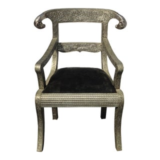 Vintage Ram's Head Indian Regency Repousse Embossed Silver Metal Arm Chair For Sale