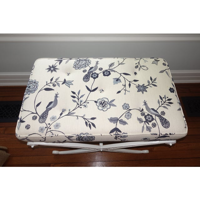 Traditional Crewel Upholstered Blue and White Cast Iron X Base Bench For Sale - Image 3 of 7
