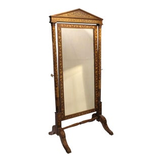 Mid 19th C. Antique Inlaid Wood Floor Mirror For Sale