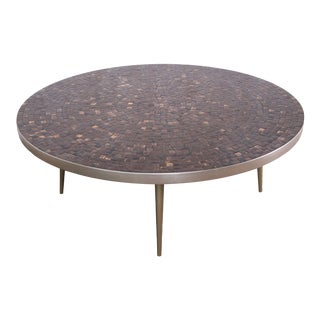 Mid-Century Modern Mosaic Tile and Brass Coffee Table For Sale