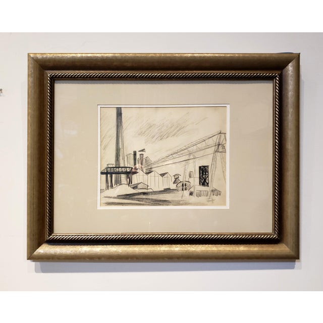 Paper Mid Century Industrial Factory Charcoal Drawing by Tonia Cariffa For Sale - Image 7 of 7