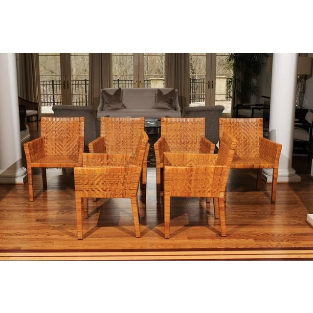 Terrific Restored Set of Six Cane Chairs in the Style of Jean-Michel Frank For Sale - Image 10 of 11