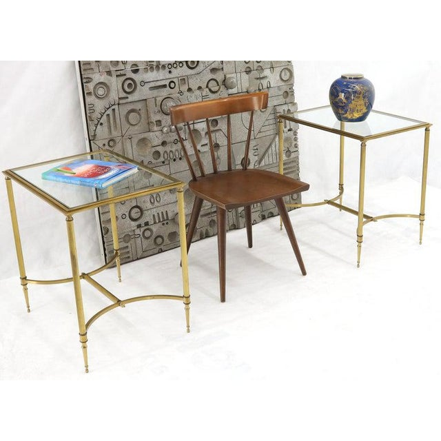 Metal Pair of Solid Brass Glass Tops Stretcher Janson Style End Occasional Tables For Sale - Image 7 of 13