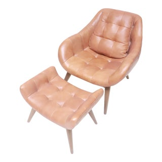 Mid-Century Modern Leather Chair and Ottoman For Sale